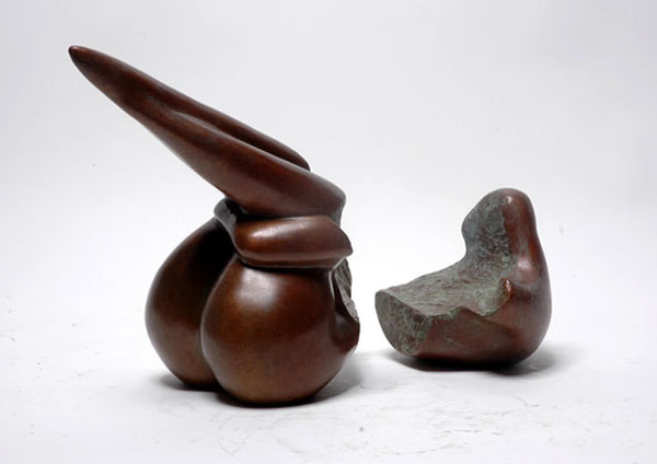 Wax polished abstract bronze sculpture of Body Form II - side view