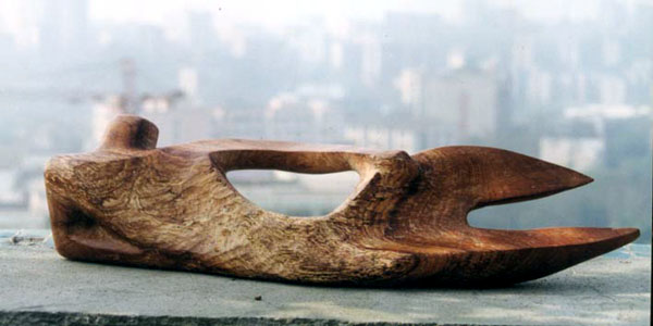 Abstract wood sculpture of Body Form VI - side view
