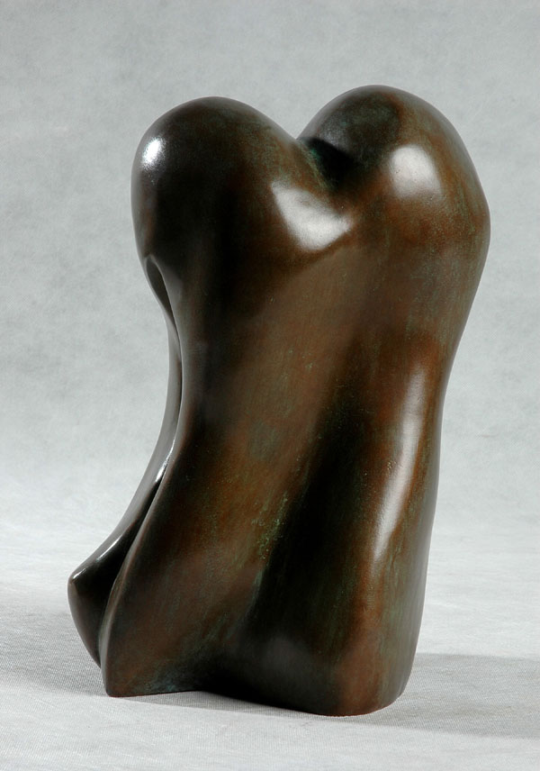 Wax polished abstract bronze sculpture of Body Forms - front view