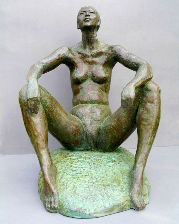 Confident - Limited edition bronze sculpture - front view of this realistic, figurative sculpture