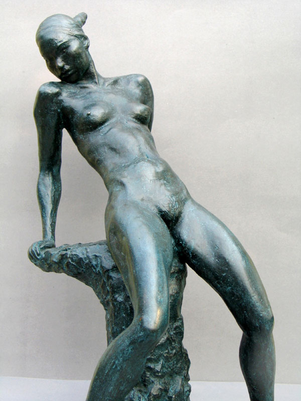 Defiant - Limited edition bronze sculpture of a nude female - side view of this realistic, figurative sculpture