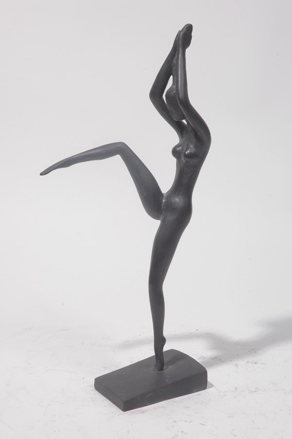 Jubilation a stylized bronze sculpture by modern Chinese sculptor Zhang Yaxi