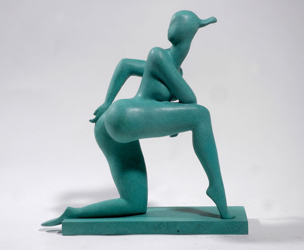 """Looking Back"" an original bronze sculpture by contemporary Chinese sculptor Zhang Yaxi"