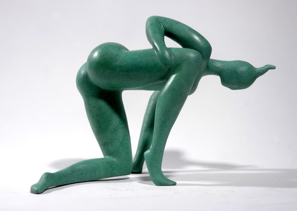 """Looking Down"" an original bronze sculpture by contemporary Chinese sculptor Zhang Yaxi"