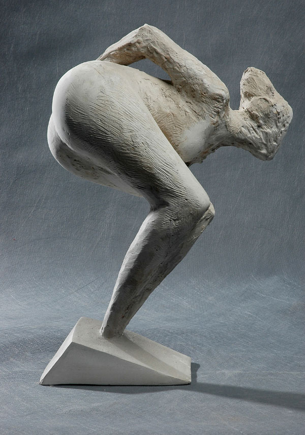 Looking Out - a stylized nude sculpture by Zhang Yaxi
