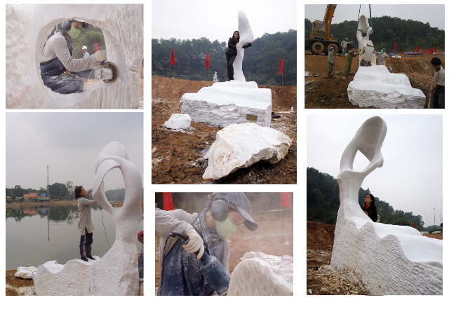 This monumental marble sculpture by Chinese sculptor Zhang Yaxi is not the type of sculpture any female sculptor can tackle - but thanks to a bit of assistance and a huge amount of hard work, Yaxi was able to complete the artwork on time.