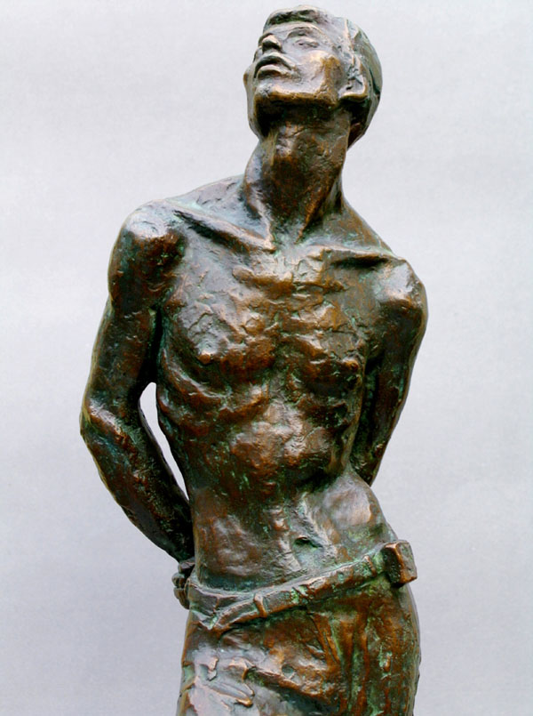 Close up of the lost-wax bronze sculpture