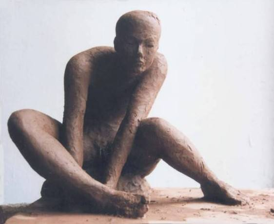"Clay sculpture ""Fishing"" by contemporary Chinese sculptor Zhang Yaxi - see also the terra cotta version below"