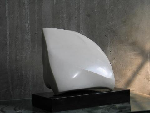 Another view of the same abstract white marble sculpture
