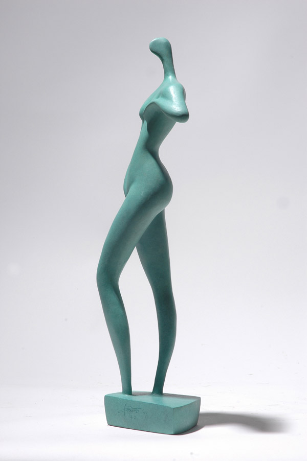 Side view of this stylized nude sculpture