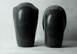 "Click here for a larger view and details of ""Minimalist Couple"" a black marble sculpture by contemporary Chinese sculptor Zhang Yaxi"