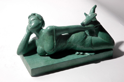 "Click here for a larger view and details of ""Lounging"" a bronze sculpture by contemporary Chinese sculptor Zhang Yaxi"