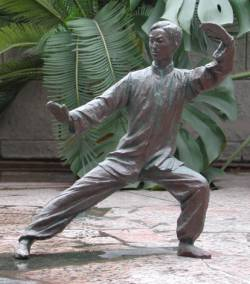 "Click here for a larger view and details of ""Tai Chi Master"" sculpture - a figurative bronze sculpture by contemporary Chinese sculptor Zhang Yaxi"