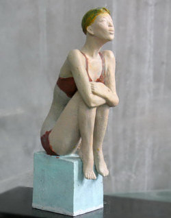 "Click here for a larger view and purchase details for ""Seated Swimmer"" a sculpture available in both lost-wax bronze and bronze resin by Zhang Yaxi"