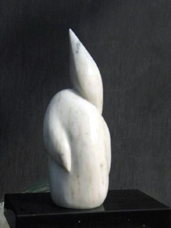 "Click here for a larger view and details of ""Abstract Marble I"" a white marble sculpture by contemporary Chinese sculptor Zhang Yaxi"