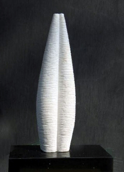 "Click here for a larger view and details of ""Abstract Marble IV"" a white marble sculpture by contemporary Chinese sculptor Zhang Yaxi"