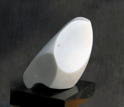 "Click here for a larger view and details of ""Abstract Marble II"" a white marble sculpture by contemporary Chinese sculptor Zhang Yaxi"