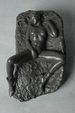 "Click here for larger version and purchase details for ""Wall Nude II"" a bronze relief sculpture by contemporary Chinese sculptor Zhang Yaxi"