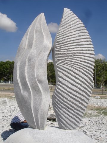Monumental marble sculpture designed by Chinese sculptor Zhang Yaxi